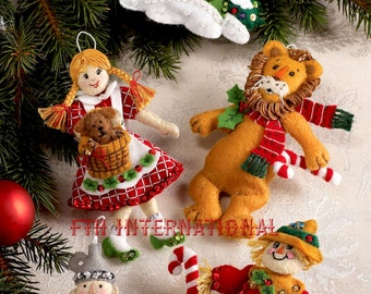 Bucilla Wizard of Oz ~ Felt Christmas Ornament Kit #86203 Dorothy Tin Man 6 Pcs. DIY