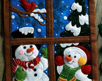 Bucilla Winter Window ~ Felt Christmas Wall Hanging Kit #86732 Frosty Snow Scene DIY