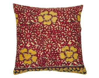 Kantha Cushion Cover - Red with ochre design 2