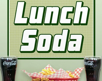 Lunch Soda Green Metal Diner Sign - #58432