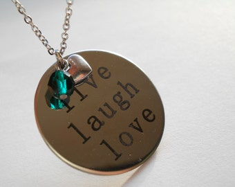 Surgical steel necklace, live love laugh pendant, surgical steel necklace, inspirational jewelry, inspirational necklace, motivational