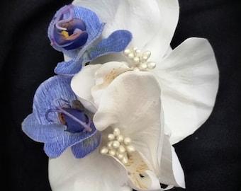 TROPICAL BRIDAL HAIR Clip, Blue & White Orchid hair flower, Hair Accessory, Headpiece, Silk Flower clip, Wedding Hair clip, Hawaiian orchids
