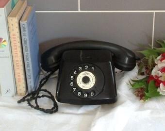 Fabulous Vintage Black Rotary Dial Shipton Telephone