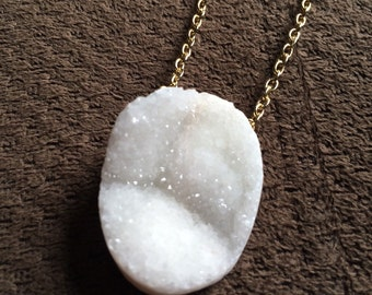 Large White Oval Druzy Drop Necklace