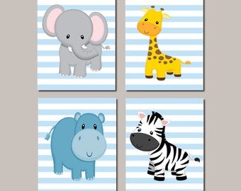 JUNGLE Nursery Wall Art ELEPHANT Baby Giraffe Zebra Hippo Zoo Safari Animals Baby Boy Decor Jungle Bedding Picture Set of 4 Prints Or Canvas