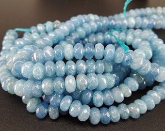 Full Strand 6x4mm 90pcs Light Blue Agate Faceted Rondelle Beads Agate Gemstone Beads