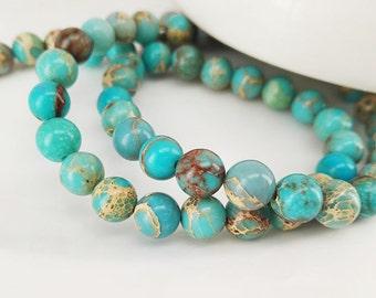 Full Strand 64pcs 6mm Smooth Round Aqua Blue Sediment Imperial Jasper Beads Emperor Jasper Beads Imperial Jasper