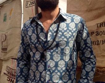 SALE-Man long sleeves shirt in pure cotton Blue block print design