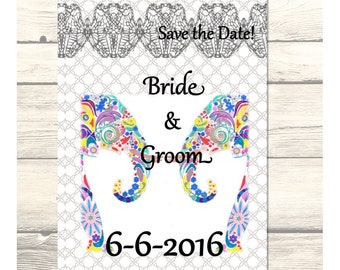 "Indian Elephants Wedding ""Save the Date"" Cards Customizable - Printable Digital Download"