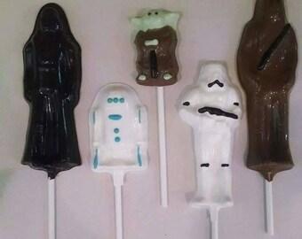 Star Wars chocolate lollipop party favors