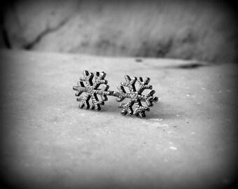 Snowflake earrings in silver