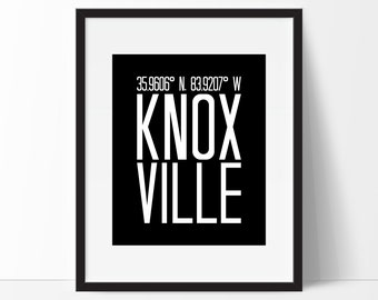 Knoxville Tennessee Art Print, Tennessee Art, City Art, Knoxville Tn, Knoxville Coordinates,Typography, Black & White Art