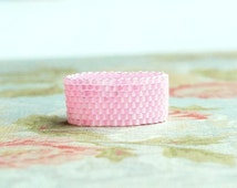 Seed Bead Ring, Peyote Ring, Beaded Ring, Woven Ring, Delica Ring, Bead Band Ring, Cotton Candy Pink Ring, Seed Bead Jewelry, Flexible Ring