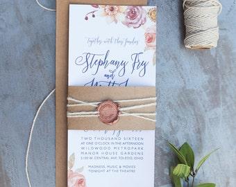 rustic floral calligraphy printable wedding invitation, fall wedding invitation, modern calligraphy, aubergine, orange, red