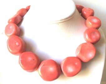 Coral Necklace, Large Coral Necklace, Beach Wedding Jewelry