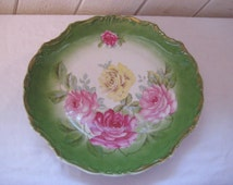 Large Decorative plate, pink green floral plate, pink roses, serving platter, hanging plate, shabby chic decor