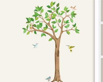 "Wall Decal ""Tree with birds"" nursery baby children's room decorations for wall sticker Hummingbird"