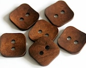 6 Wooden Square Buttons - 22mm Buttons - Large Buttons - Natural Brown Button - Unique Buttons - Chunky Button - Good Quality Button - NW108