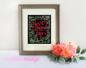 Never Grow Up Art Print - Chalkboard Art Print - Whimsical - Bedroom Art - Office - Wall Decor - Nursery - Playroom - Chalk Art