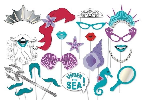 Mermaid party photo booth props - printable - Under the Sea party, The ...