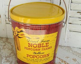 Vintage Retro Graphics Noble Popcorn Farms Bale Handle Tin Kitchen Canister Retro Kitchen Tin Vintage Kitchen Decor Advertising Tin