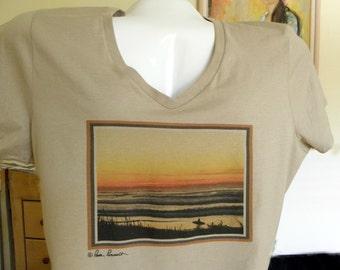 WOMENS Vneck Tshirt, Ocean Sunset, Surfer & Surfboard; Medium Tan Shirt, 100% Pre-Shrunk Ringspun Cotton, Tag-Free Neck Label, Gift Idea
