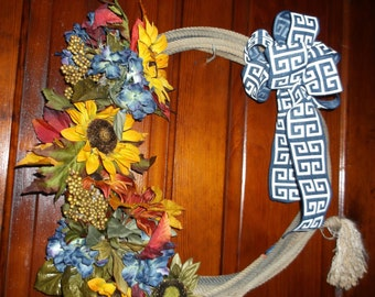 Sunflower Western Lasso Lariat Rope Wreath