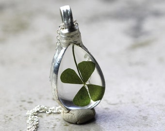 Clover Necklace Sterling St Patricks Day Silver Botanical Soldered Glass Pendant Lucky Irish Terrarium Natural Woodland Jewelry Rustic