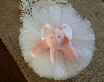 Pink Stuffed Elephant w/ Tutu for Newborn