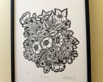In Bloom Flowers Lino Print