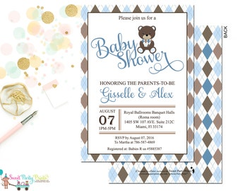 Teddy Bear Baby Shower Invitation - New Baby Invitation - Boys Baby Shower Invitation - brown and blue Invitation
