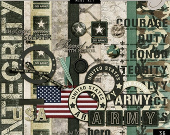 US Army Digital Scrapbook - Go Army Theme Paper - Military Scrapbook - Army Backgrounds - Camouflage - INSTANT DOWNLOAD