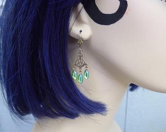 Green Chandelier Earrings ~ Peridot Green ~ Vintage Glass ~ August Birthstone ~ Green Art Deco ~ Vintage Glass ~ by LadyofTheLakeJewels