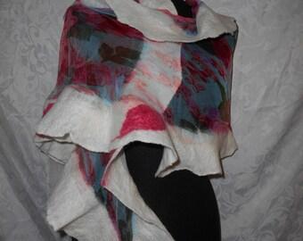 "Handmade nuno felted wool shawl/scarf ""Rose"" dark pink/red/white OOAK ART,fashionable,Christmas gift"