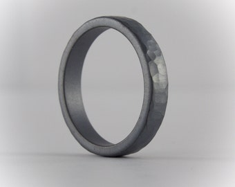 Hammered Sterling Silver Ring, Oxidized Sterling, Textured Ring, Wedding Band, Promise Ring, Organic Ring, 3 mm Ring for Men or Women
