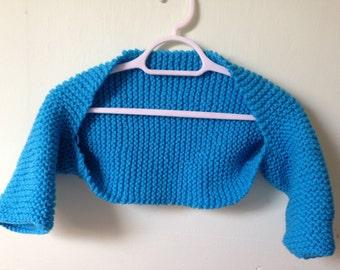 Chunky Blue Bolero, Small Blue Bolero, Knitted Blue Bolero, Blue Bolero Shrug, Chunky Bolero Shrug, Blue Formal Bolero, Blue Wedding Bolero