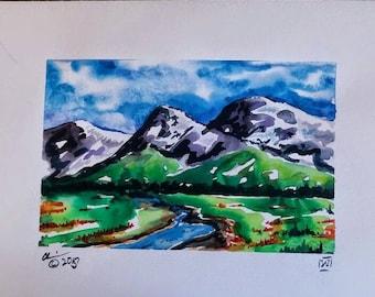 The Valley original watercolor on paper landscape treescape