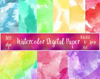 Water Color Digital Paper 12x12 & 8x8 versions ( Instant Download )
