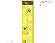 Personalized Growth Chart - Height Chart - Personalized Children's Growth Chart Pretty Bumble Bee's I (925)