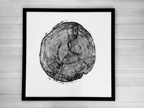 Tree Ring Art Print, From Sundance Canyon, Huge Wall Art. Woodblock Tree Print, Gift for him, Fathers day, Handmade Woodblock