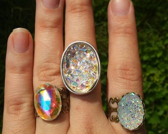 Unique, sparkle rainbow rings. 3 different styles to choose from.