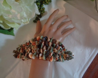 Made in Japan Five (5) Strands Slag Stone Big Bold Bracelet Greens Peach Gray Colors