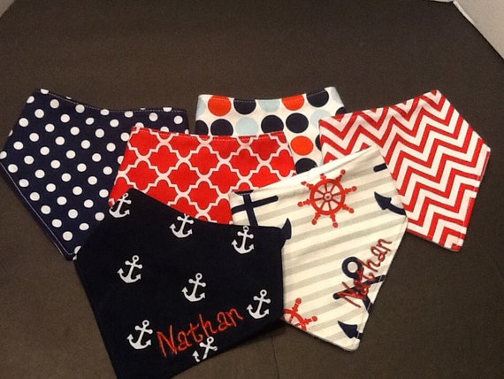 Baby bandana bibs made nautical themed fabric for Baby themed fabric