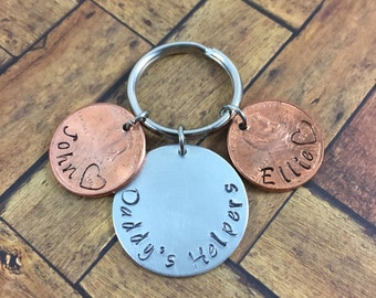 Handstamped Daddy's Helpers, Fathers Day, Penny keychain with children names and birth year. Grandpa's Day
