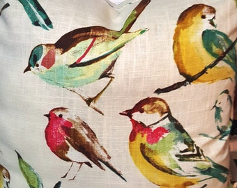 Available in 3 Colors Richloom Birdwatcher Beautiful Birds Decorative Throw Accent Pillow Cover with Solid color backing fabric and zipper