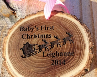 SALE!!  Baby's first Christmas ornament,  Personalized Ornament, Wood Christmas Ornament, Baby Ornament,  Rustic Christmas ornament
