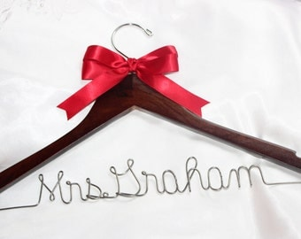 Wedding dress hanger, personalized hanger, bride hanger, bridal party hangers, wire hangers, bridal party gifts,  hanger, bridesmaid hangers