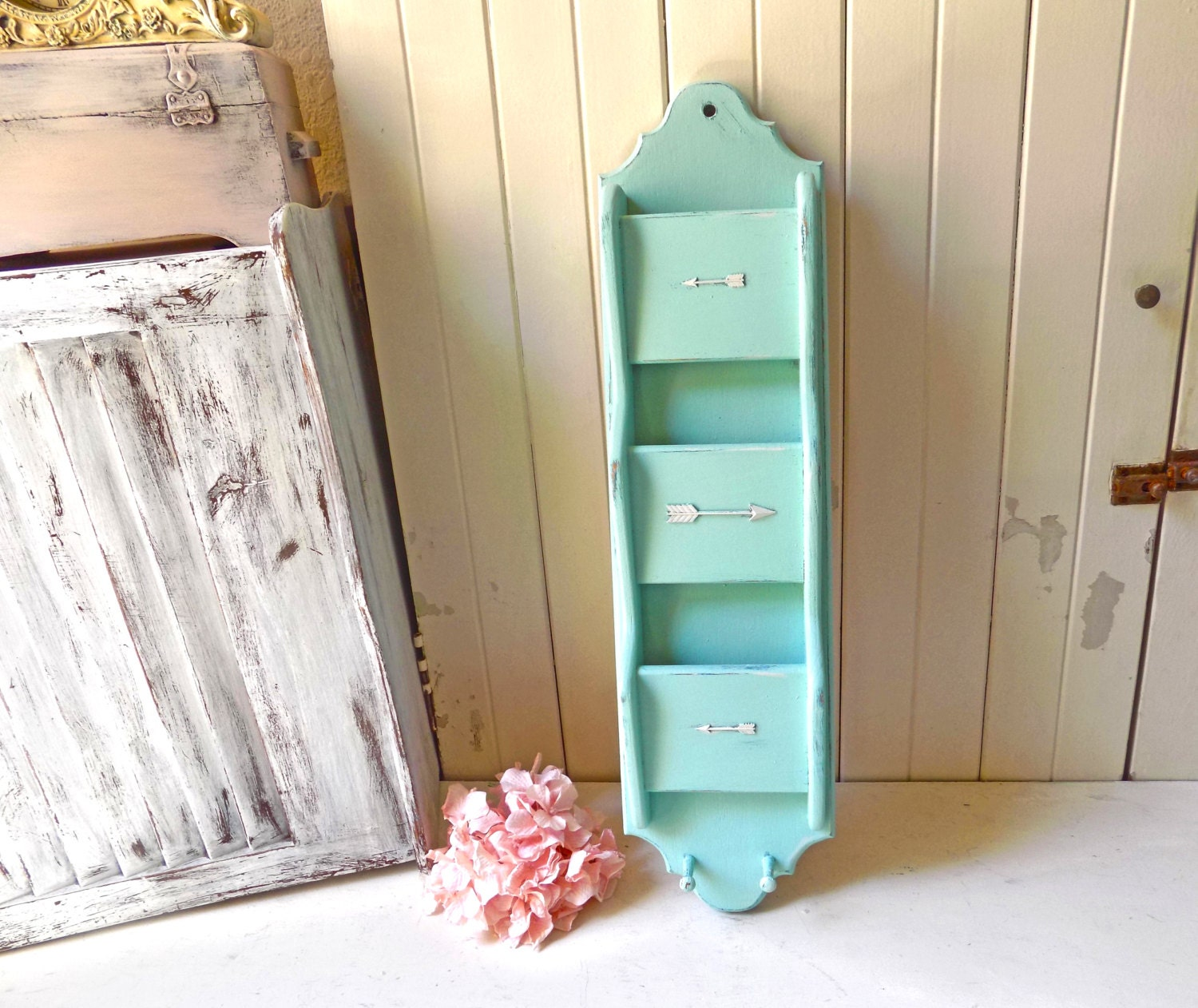 aqua mint vintage mail organizer with arrow decor teal distressed shabby chic letter holder bill holder mail organizer office decor chic mint teal office