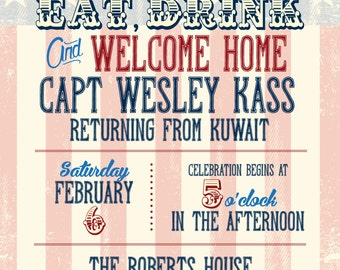 Welcome Home Party Invitation/Support Our Troops BBQ : Vintage American Flag Design
