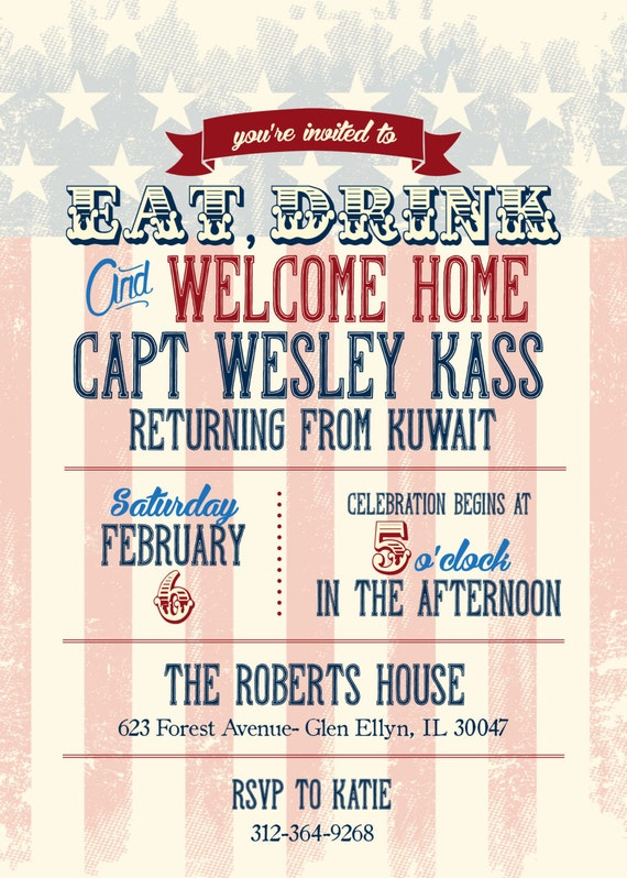 Welcome home party invitation support our troops bbq vintage for Welcome home troops decorations